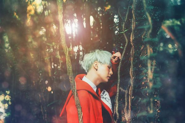 Tags: K-Pop, BTS, Suga, Side View, Red Outerwear, Tree, Eyes Closed, Plant, Red Jacket, Forest, Green Hair, Outdoors