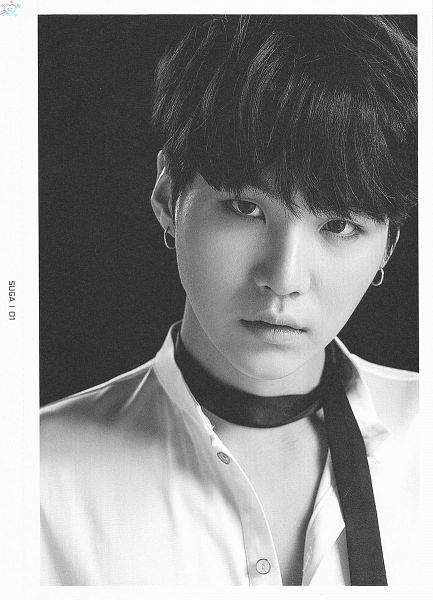 Tags: K-Pop, BTS, Suga, Choker, Close Up, Contact Lenses, Dark Background, Monochrome, Text: Artist Name, Black Background, BTS Live Trilogy Episode III: The Wings Tour, Scan
