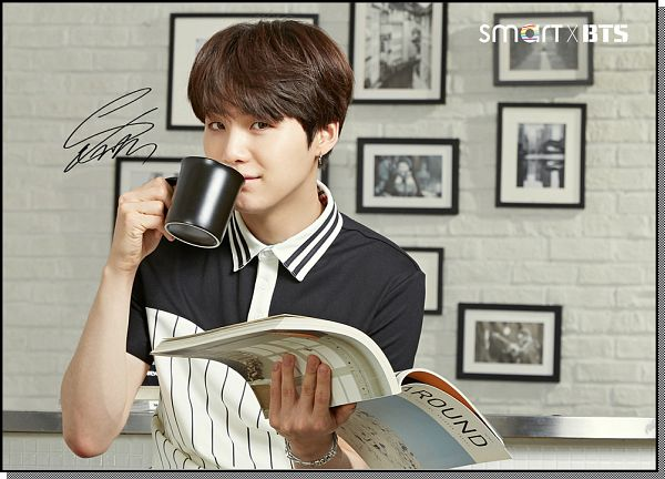 Tags: K-Pop, BTS, Suga, Drinking, Book, Blue Shirt, Signature, Open Book, Short Sleeves, School Uniform, Cup, Black Eyes