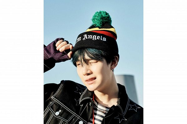 Tags: K-Pop, BTS, Suga, Hat, Sky, Star (Symbol), White Border, Collar (Clothes), Black Jacket, Black Outerwear, Close Up, Striped