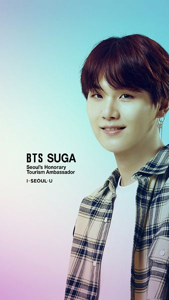 Tags: K-Pop, BTS, Suga, Light Background, Open Shirt, Collar (Clothes), Grin, Text: Artist Name, Plaided Print, English Text, Gradient Background, I·SEOUL·U