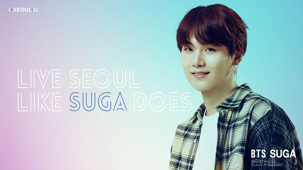 Tags: K-Pop, BTS, Suga, Close Up, Gradient Background, English Text, Open Shirt, Collar (Clothes), Light Background, Text: Artist Name, Grin, Plaided Print