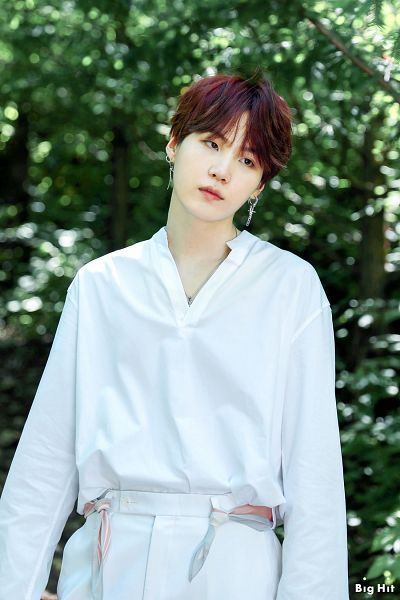 Tags: K-Pop, BTS, Suga, Outdoors, Tree, Text: Company Name, Plant, Forest, English Text, BTS 2019 Season's Greetings