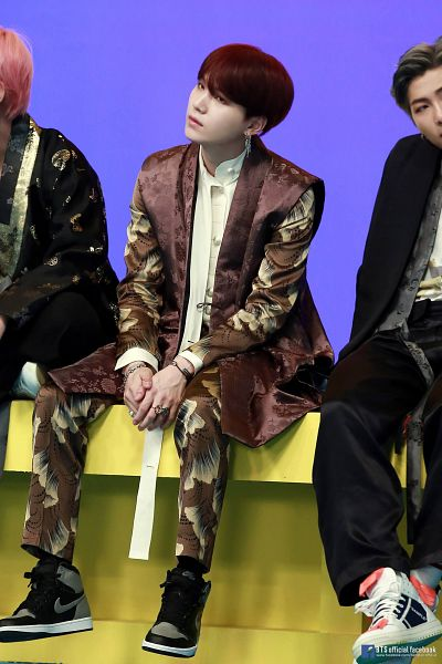 Tags: K-Pop, BTS, IDOL (Song), Suga, Text: URL, Traditional Clothes, English Text, Brown Outerwear, Korean Clothes, Trio, Text: Artist Name, Red Hair