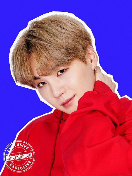 Tags: K-Pop, BTS, Suga, English Text, Red Shirt, Blonde Hair, Blue Background, Sweater, Entertainment Weekly, Magazine Scan, Scan