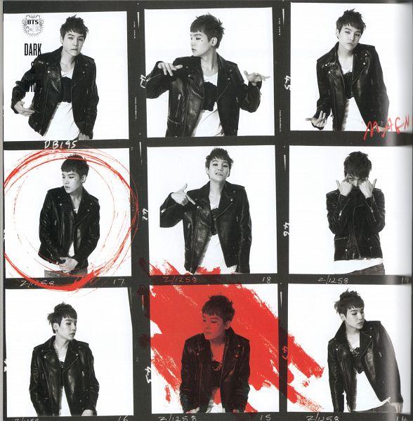 Tags: K-Pop, BTS, Suga, Monochrome, Text: Album Name, Eyeliner, Light Background, Multiple Persona, White Background, Frame, Make Up, Scan