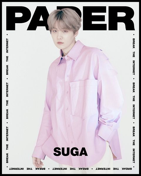 Tags: K-Pop, BTS, Suga, Text: Magazine Name, English Text, Light Background, Text: Artist Name, Pink Shirt, White Background, Scan, Paper Magazine, Twitter