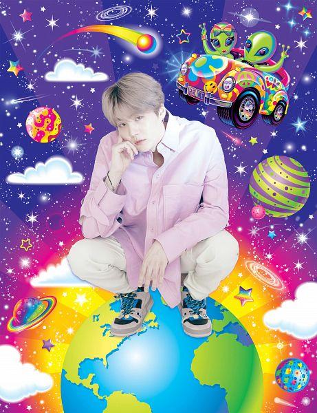 Tags: K-Pop, BTS, Suga, Pink Shirt, Car, Crouching, Bracelet, Gray Hair, White Pants, Serious, Paper Magazine, Scan
