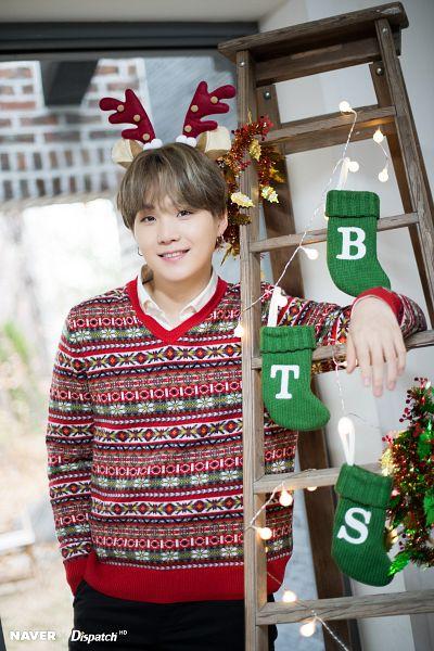 Tags: K-Pop, BTS, Suga, Ladder, Christmas, Antlers, Horns, Black Eyes, English Text, Socks, Stairs, Green Footwear