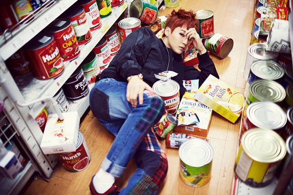 Tags: K-Pop, BTS, Suga, Bracelet, Food, Frown, Jeans, Hand On Head, Cereal, Red Hair, Black Jacket, Leather Jacket