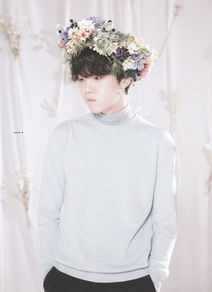 Tags: K-Pop, BTS, Suga, Turtleneck, Hand In Pocket, Leaf, Black Eyes, White Flower, Looking Away, Yellow Flower, Blue Outerwear, Bouquet