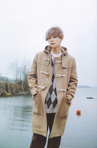 Tags: K-Pop, BTS, Suga, Hand In Pocket, Brown Outerwear, Black Eyes, Coat, Gray Hair, Sea, Water, Hood, Outdoors