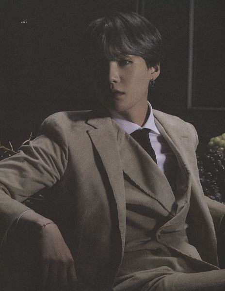Tags: K-Pop, BTS, Suga, Tie, Table, Dark Background, Grapes, Vest, Fruits, Suit, Brown Pants, Collar (Clothes)