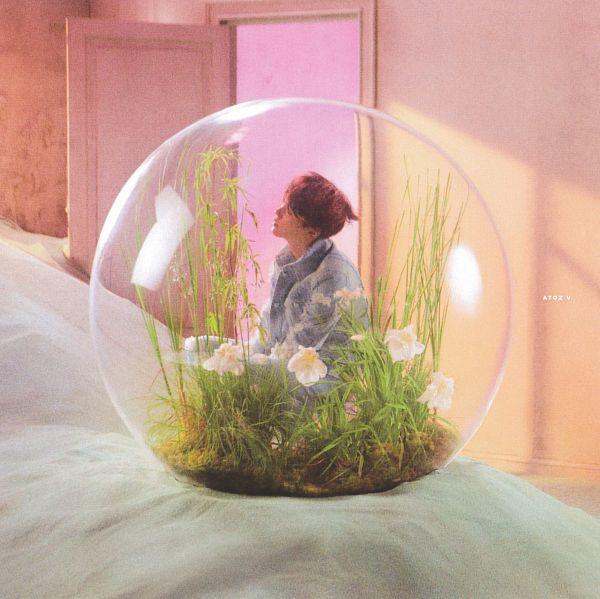 Tags: K-Pop, BTS, Suga, White Flower, Flower, Head Tilt, Ripped Pants, Blue Outerwear, Side View, Bubbles, Blue Pants, Grass