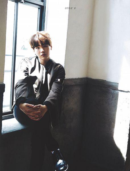 Tags: K-Pop, BTS, Suga, Black Eyes, Serious, Window, Gray Shirt, Black Pants, Anan Magazine, Magazine Scan