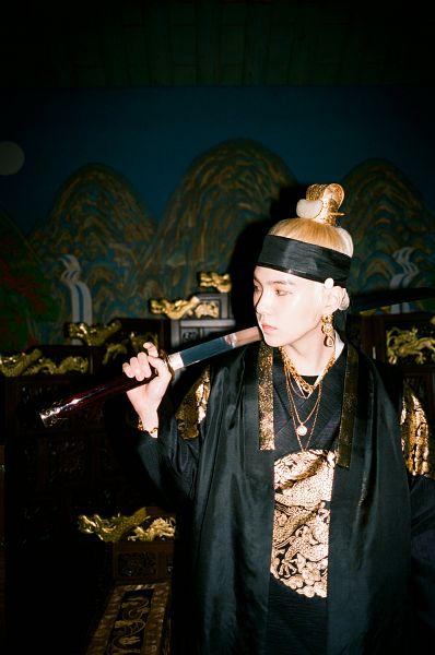 Tags: K-Pop, BTS, Daechwita, Suga, Hair Buns, Necklace, Single Bun, Sword, Hair Up, Dark Background, Scar, Bracelet