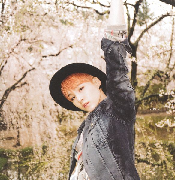 Tags: K-Pop, BTS, Suga, Black Headwear, Tree, Red Hair, Denim Jacket, Arms Up, Hat, Pink Flower, Rolled Up Sleeves, Cherry Blossom