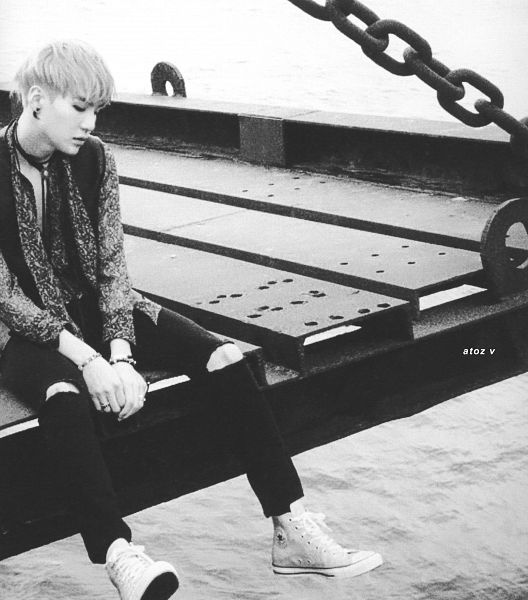 Tags: K-Pop, BTS, Suga, Bracelet, Water, Sea, Monochrome, Outdoors, Looking Down, Necklace, Ripped Pants, Scan