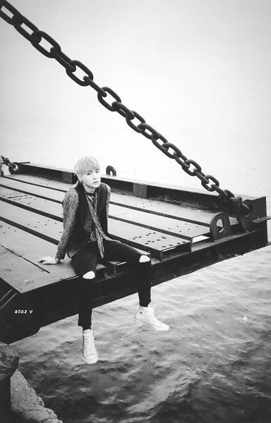 Tags: K-Pop, BTS, Suga, Ripped Pants, Sea, Water, Monochrome, Necklace, Outdoors, Bracelet, Scan, The Most Beautiful Moment in Life pt.1