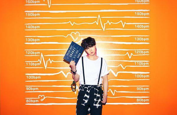 Tags: K-Pop, BTS, Butter, Suga, Black Shorts, Head Tilt, Overalls, Multi-colored Hair, Highlights, Handcuffs, Hand In Pocket, Orange Background