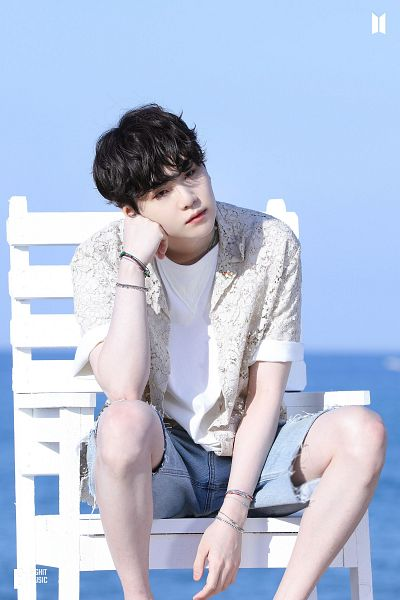 Tags: K-Pop, BTS, Butter, Suga, Chair, Blue Shorts, Stool, Outdoors, Shorts, Arm Support, Short Sleeves, Sea