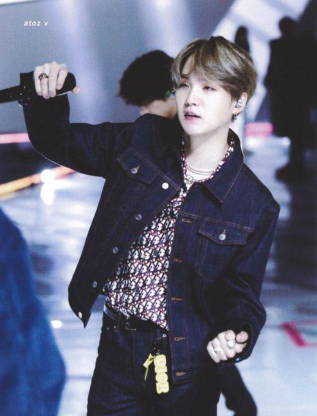Tags: K-Pop, BTS, Suga, Ring, Blue Outerwear, Belt, Denim Jacket, Blue Pants, Necklace, Dancing, Jeans, Earbuds