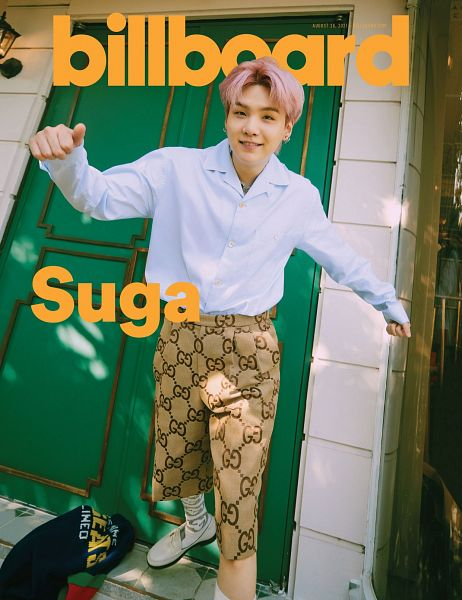 Tags: K-Pop, BTS, Suga, Grin, Jumping, Necklace, Brown Pants, Pink Hair, Door, Billboard, Magazine Scan