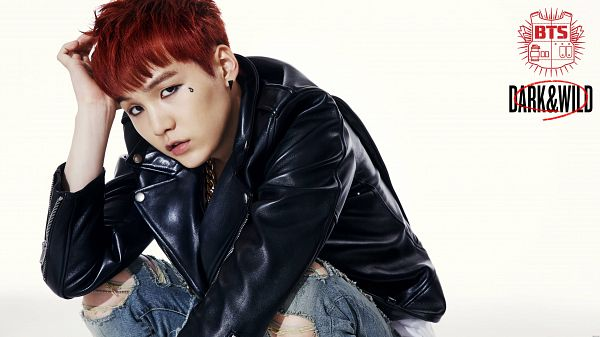 Tags: K-Pop, BTS, Suga, Leather Jacket, Tattoo, Hand In Hair, Necklace, Jeans, Red Hair, Crouching, Dark & Wild, Wallpaper
