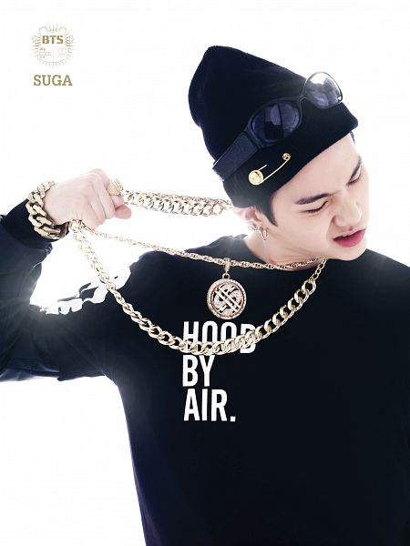 Tags: K-Pop, BTS, Suga, Fist, Necklace, Light Background, Hat, White Background, Bracelet, Looking Down, Sunglasses, 2 Cool 4 Skool