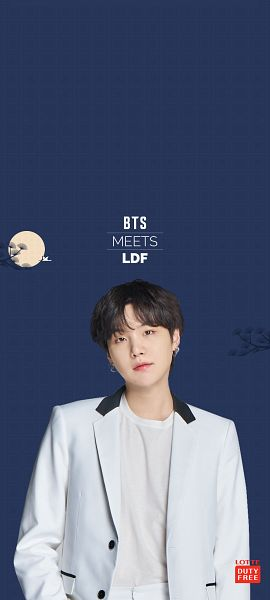Tags: K-Pop, BTS, Suga, Chuseok, Suit, White Jacket, White Outerwear, Blue Background, Moon, Lotte Duty Free, Android/iPhone Wallpaper