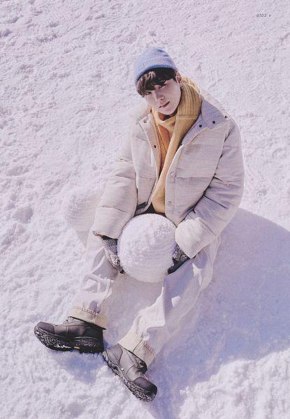 Tags: K-Pop, BTS, Suga, Gloves, Scarf, Yellow Neckwear, Hat, Shadow, Blue Headwear, White Outerwear, White Jacket, Snow