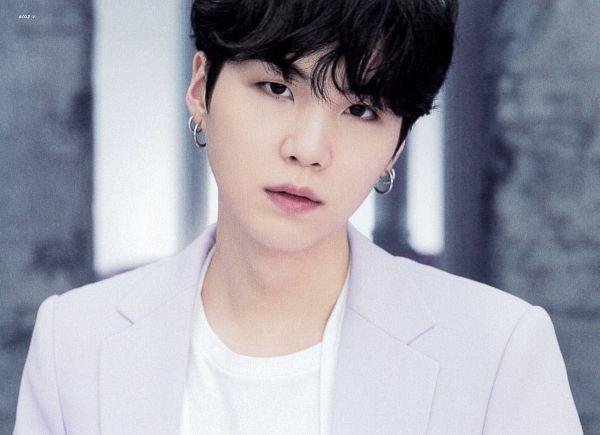 Tags: K-Pop, BTS, Suga, Purple Outerwear, Head Tilt, Purple Jacket, Wall, Scan, BTS The Best