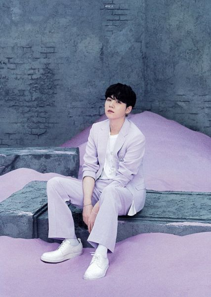 Tags: K-Pop, BTS, Suga, Purple Outerwear, Purple Pants, Purple Jacket, Sand, Wall, BTS The Best, Scan