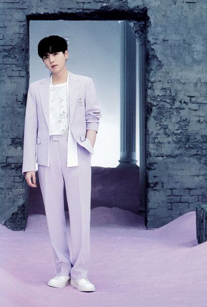 Tags: K-Pop, BTS, Suga, Purple Pants, Column, Purple Jacket, White Footwear, Wall, Sand, Purple Outerwear, BTS The Best, Scan