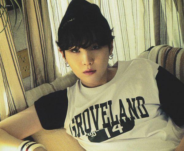 Tags: K-Pop, BTS, Suga, Serious, Black Headwear, Hat, Curtain, White Headwear, Short Sleeves, Wristband, BTS The Best, Scan
