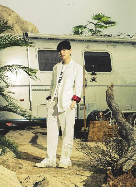 Tags: K-Pop, BTS, Suga, Hand In Pocket, Black Headwear, White Pants, Hat, White Headwear, Tree, Car, BTS The Best, Scan