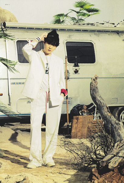 Tags: K-Pop, BTS, Suga, Hat, Black Headwear, White Pants, White Headwear, Tree, Car, BTS The Best, Scan