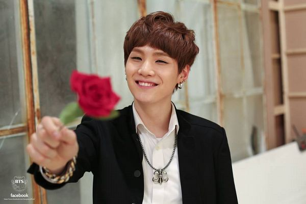 Tags: K-Pop, BTS, Boy In Luv, Suga, Bracelet, Red Flower, Holding Object, Flower, Black Jacket, Rose (flower), Grin, Necklace