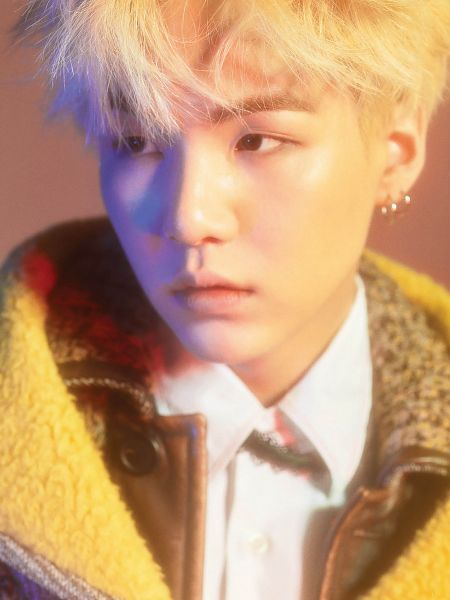 Tags: K-Pop, BTS, Suga, Close Up, Blonde Hair, Looking Away, Android/iPhone Wallpaper, Marie Claire