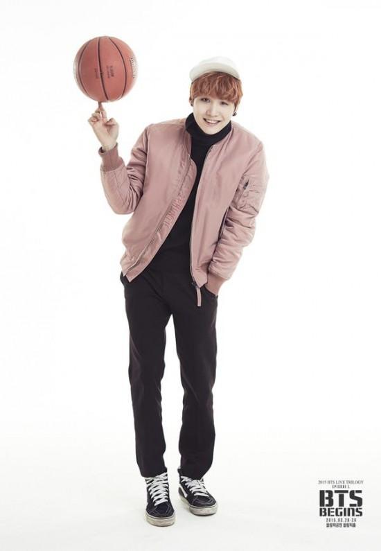 Tags: K-Pop, BTS, Suga, Black Pants, Red Hair, Basketball Ball, English Text, Pink Outerwear, Hat, Black Eyes, Light Background, White Headwear