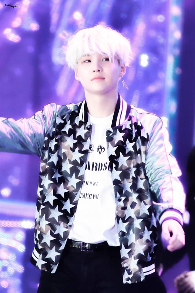 Tags: K-Pop, BTS, Suga, Blue Outerwear, Stage, Star (Symbol), Blue Jacket, White Hair