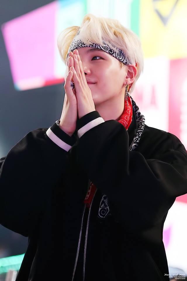 Tags: K-Pop, BTS, Suga, Bandana, White Hair, Headdress, Ring, Black Outerwear, Clasped Hands, Black Jacket