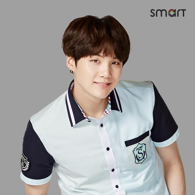Tags: K-Pop, BTS, Suga, Blue Shirt, Gray Background, Short Sleeves, Grin, Black Eyes, School Uniform, Smart Uniform