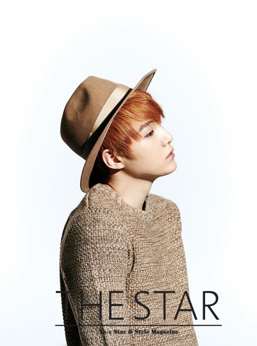 Tags: K-Pop, BTS, Suga, Red Hair, Brown Shirt, Light Background, Brown Headwear, Looking Down, White Background, Black Eyes, Side View, The Star