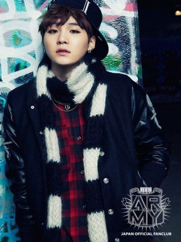 Tags: K-Pop, BTS, Suga, Scarf, Necklace, Black Headwear, Black Eyes, Checkered Shirt, Serious, Hand In Pocket, Checkered, Skool Luv Affair