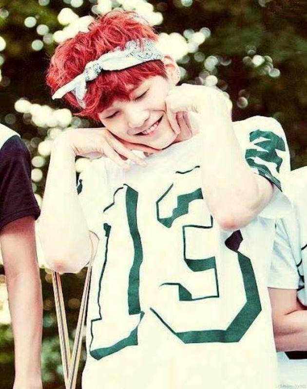 Tags: K-Pop, BTS, Suga, Grin, Bandana, Headdress, Eyes Closed, Red Hair