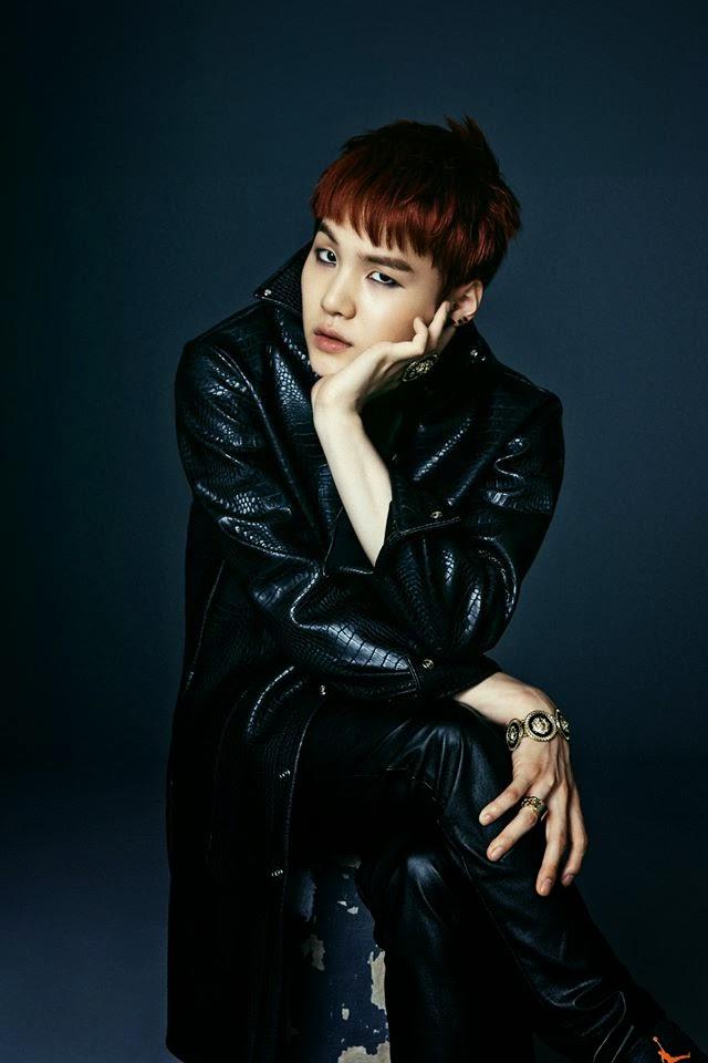 Tags: K-Pop, BTS, Suga, Black Pants, Black Jacket, Hand On Cheek, Red Hair, Hand On Knee, Bracelet, Dark & Wild