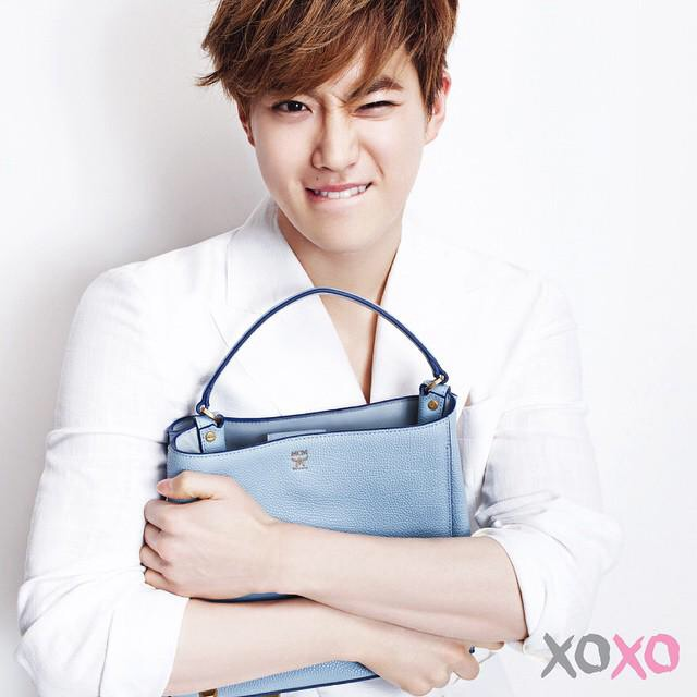 Tags: K-Pop, EXO, Suho, Bag, Biting Lip, Crossed Arms, Wink, Light Background, White Background, Scan, MCM
