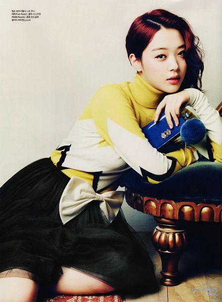 Tags: K-Pop, f(x), Sulli, Yellow Shirt, Purse, Medium Hair, Skirt, White Bow, Black Skirt, Bow, Chair, Sweater
