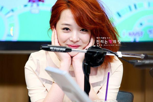 Tags: K-Pop, f(x), Sulli, Medium Hair, Red Hair, Hand On Head, Hand On Cheek, Sulli94.Net